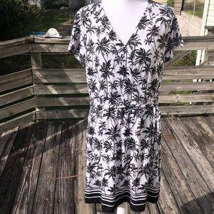 NWT Brooks Brothers white w black palm tree dress